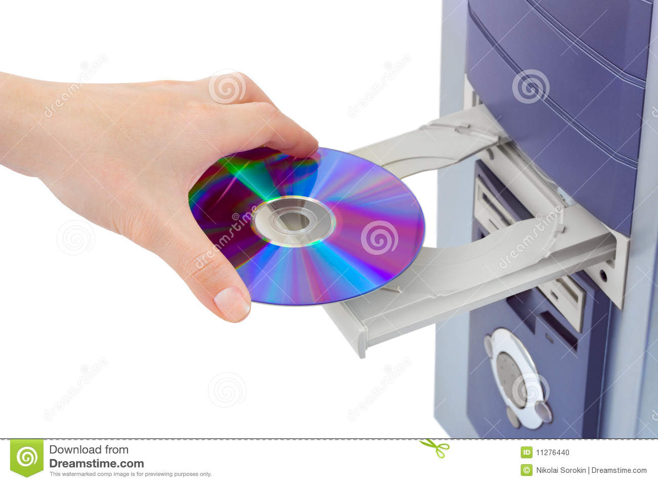 Hand And Computer Cd Rom Stock Photo Image Of Media