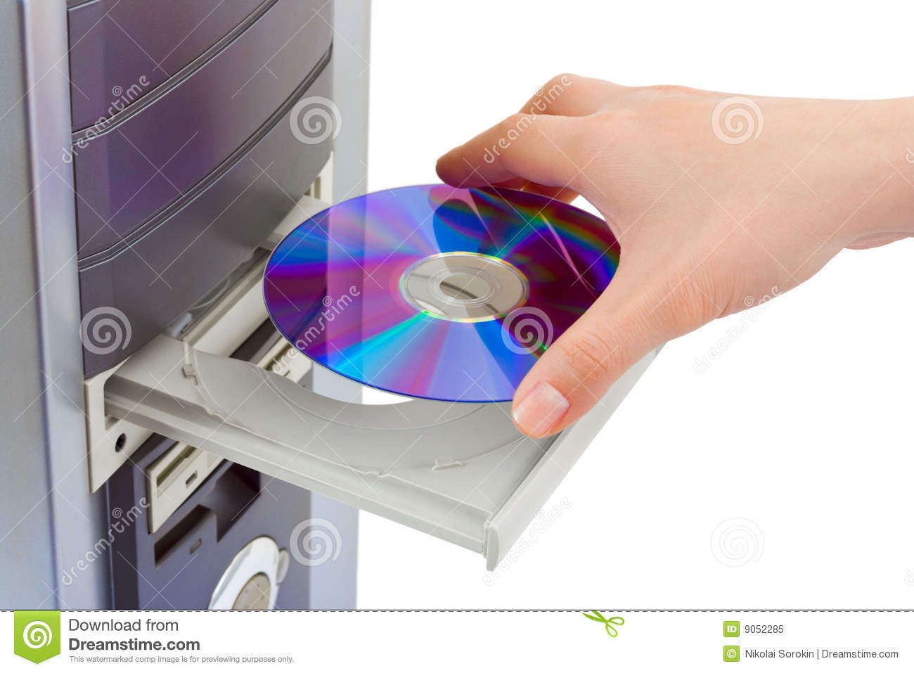 Hand And Computer Cd Rom Stock Image Image Of Hand