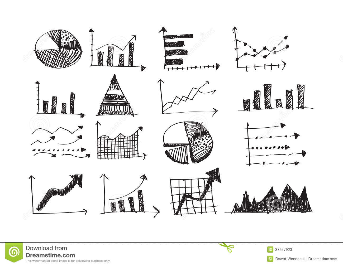 Hand Doodle Business Graph Charts Stock Illustration