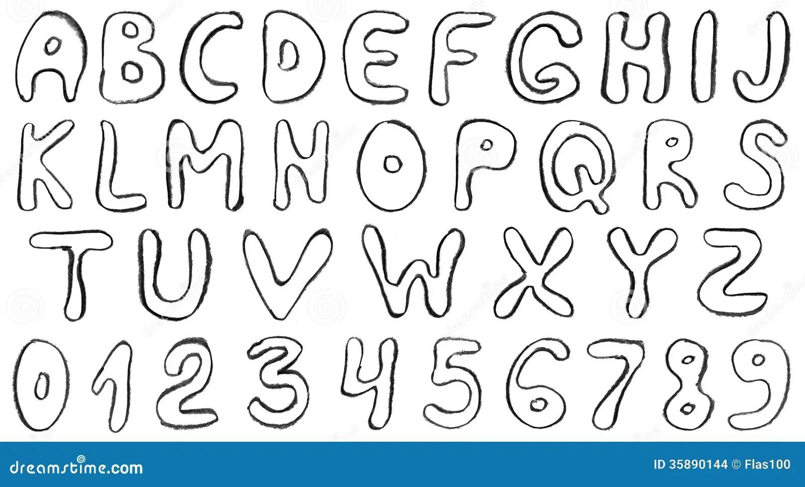 Hand Draw Alphabet Letters Stock Illustration