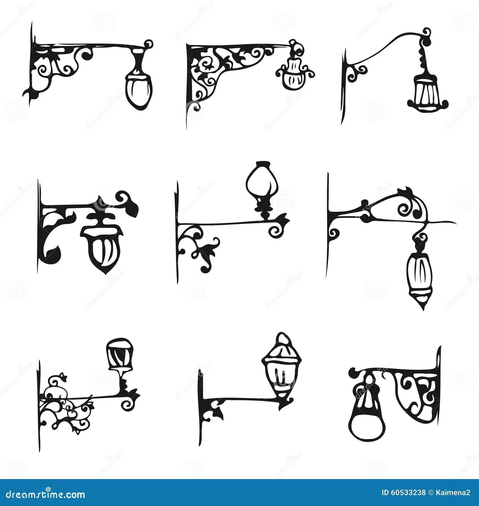 Hand Draw Antique Street Lamp Vintage Stock Vector
