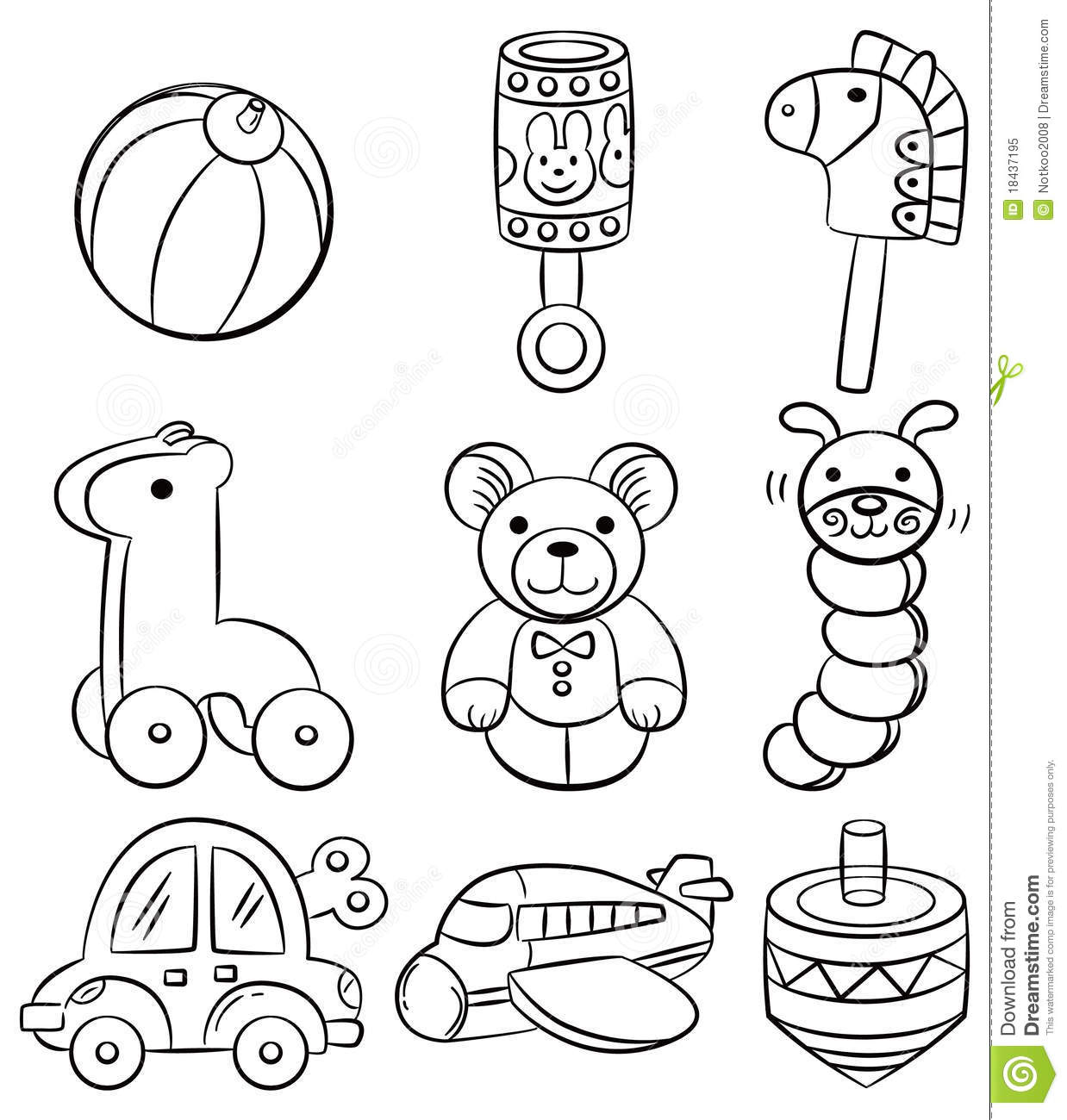 Hand Draw Cartoon Baby Toy Icon Stock Vector