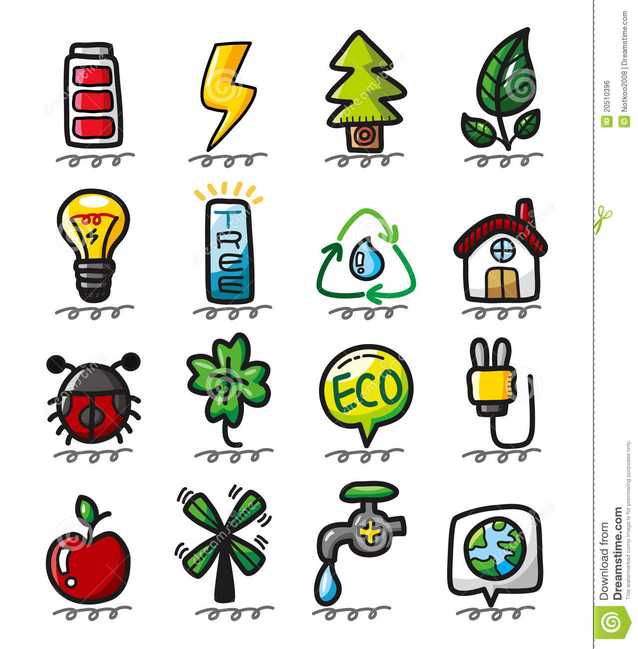 Hand Draw Cartoon Eco Icons Stock Vector