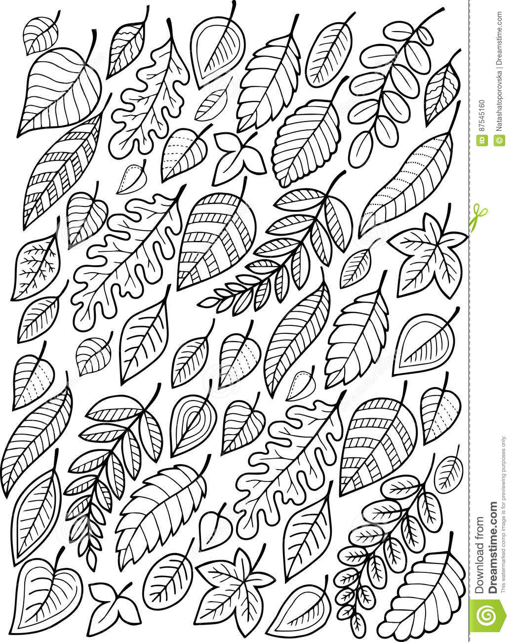 Hand Draw Doodle Coloring Page For Adult Falling Autumn