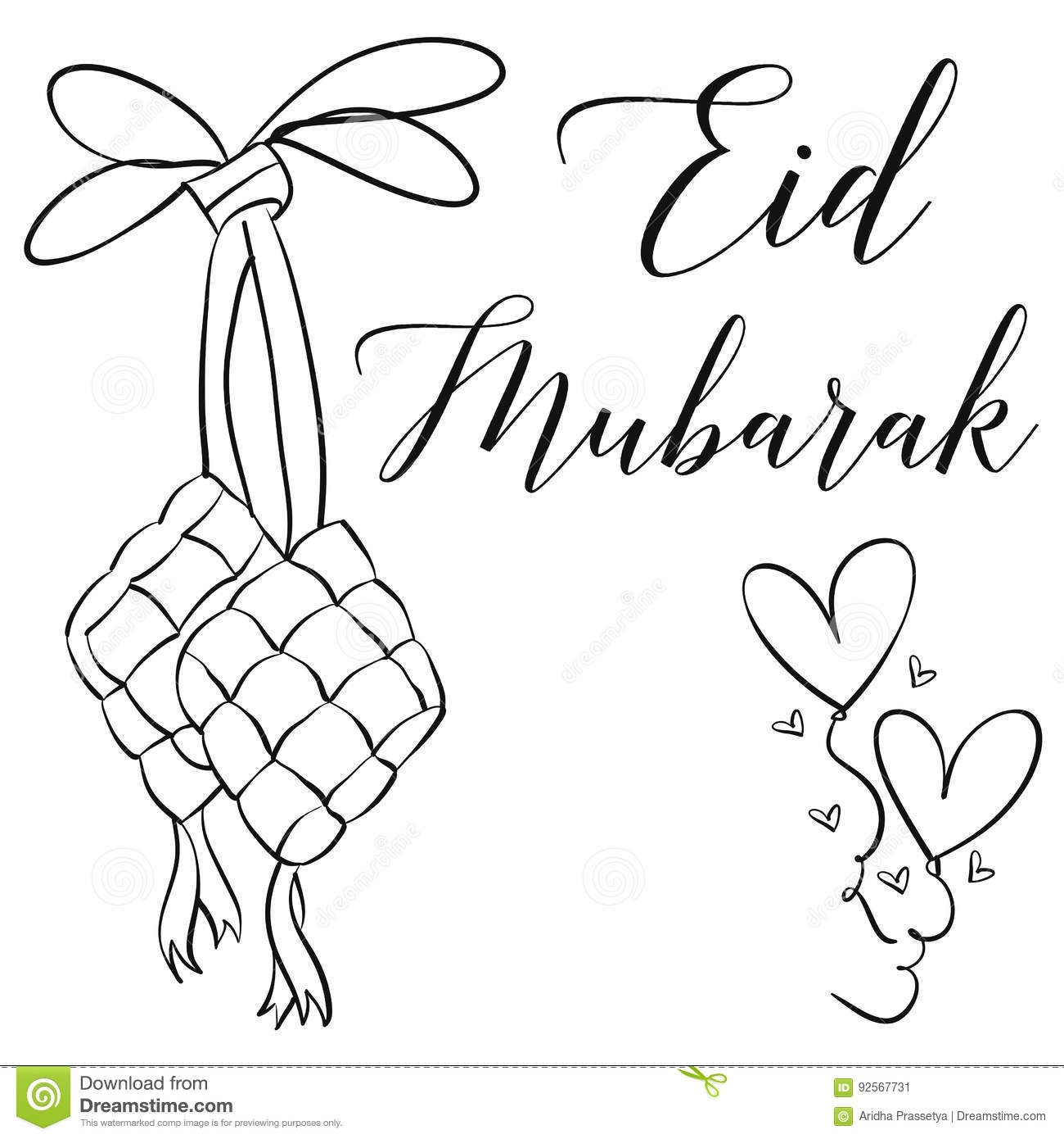 Hand Draw Greeting Card Eid Mubarak Stock Vector