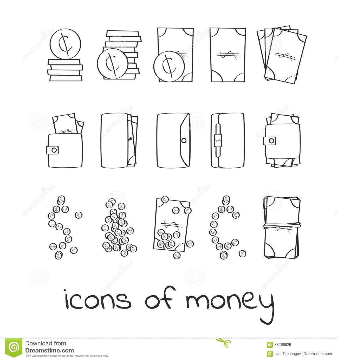 Hand Draw Money Icons Collection Of Linear Signs Of