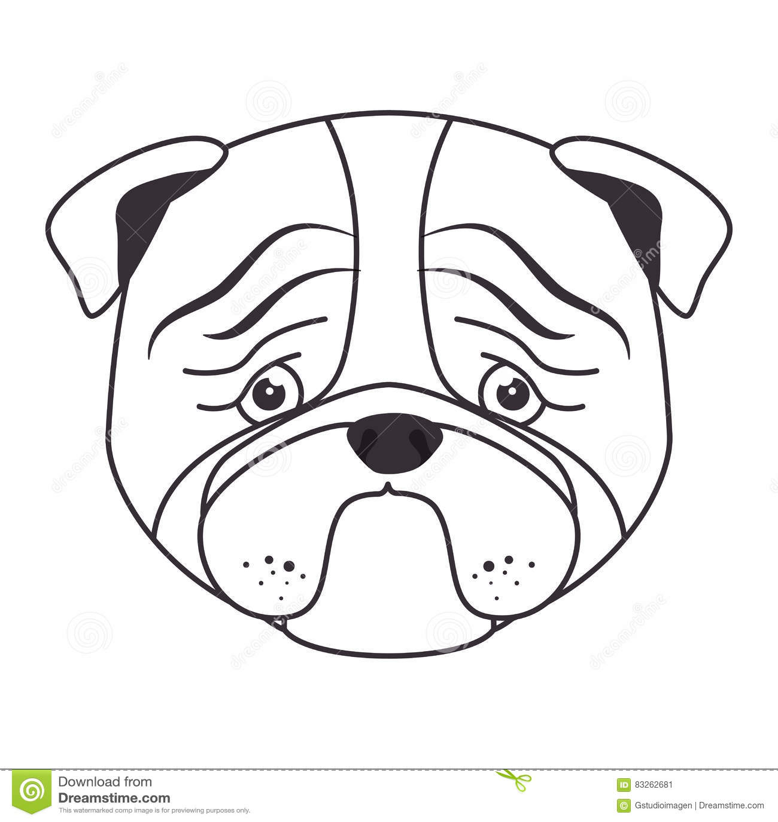 Hand Draw Sad Face Dog Royalty Free Illustration