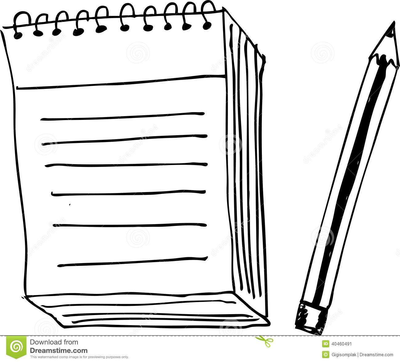 Hand Draw Sketch Blank Note And Pen Stock Vector
