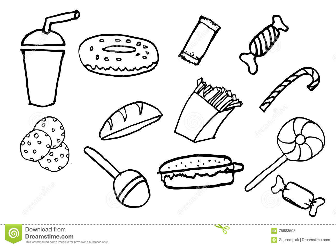 Hand Draw Sketch Of Junk Food Stock Vector