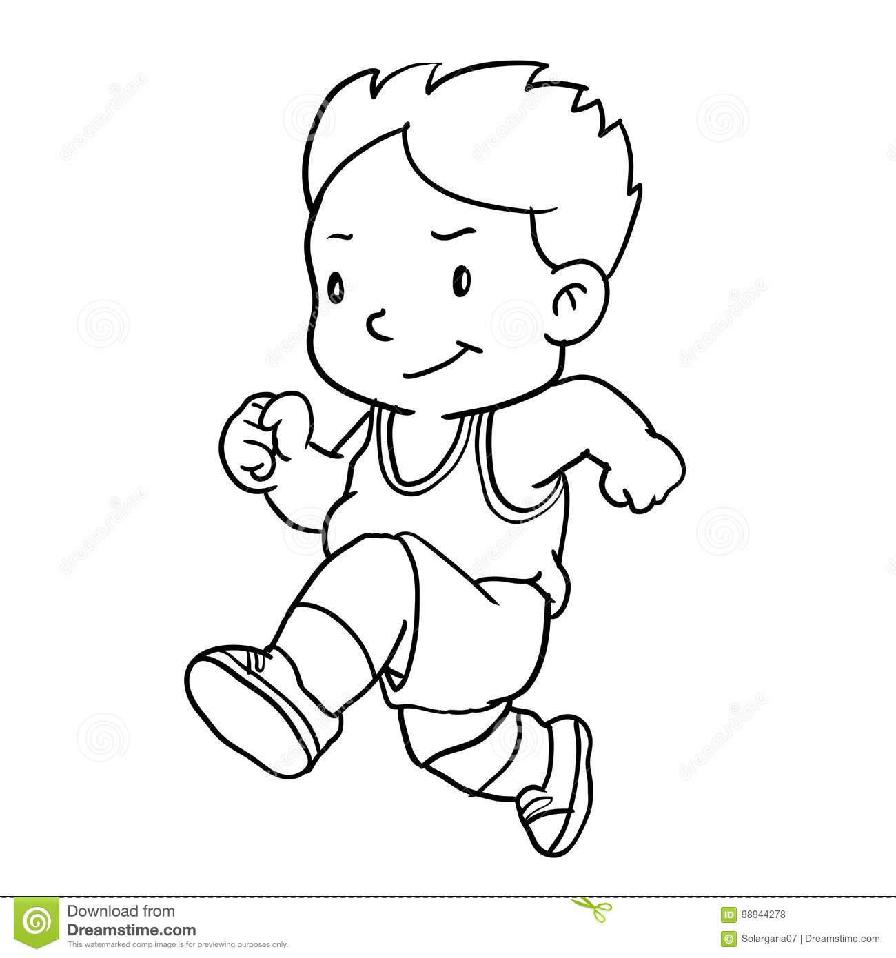 A Simple Drawing Of A Boy Running Vector Illustration