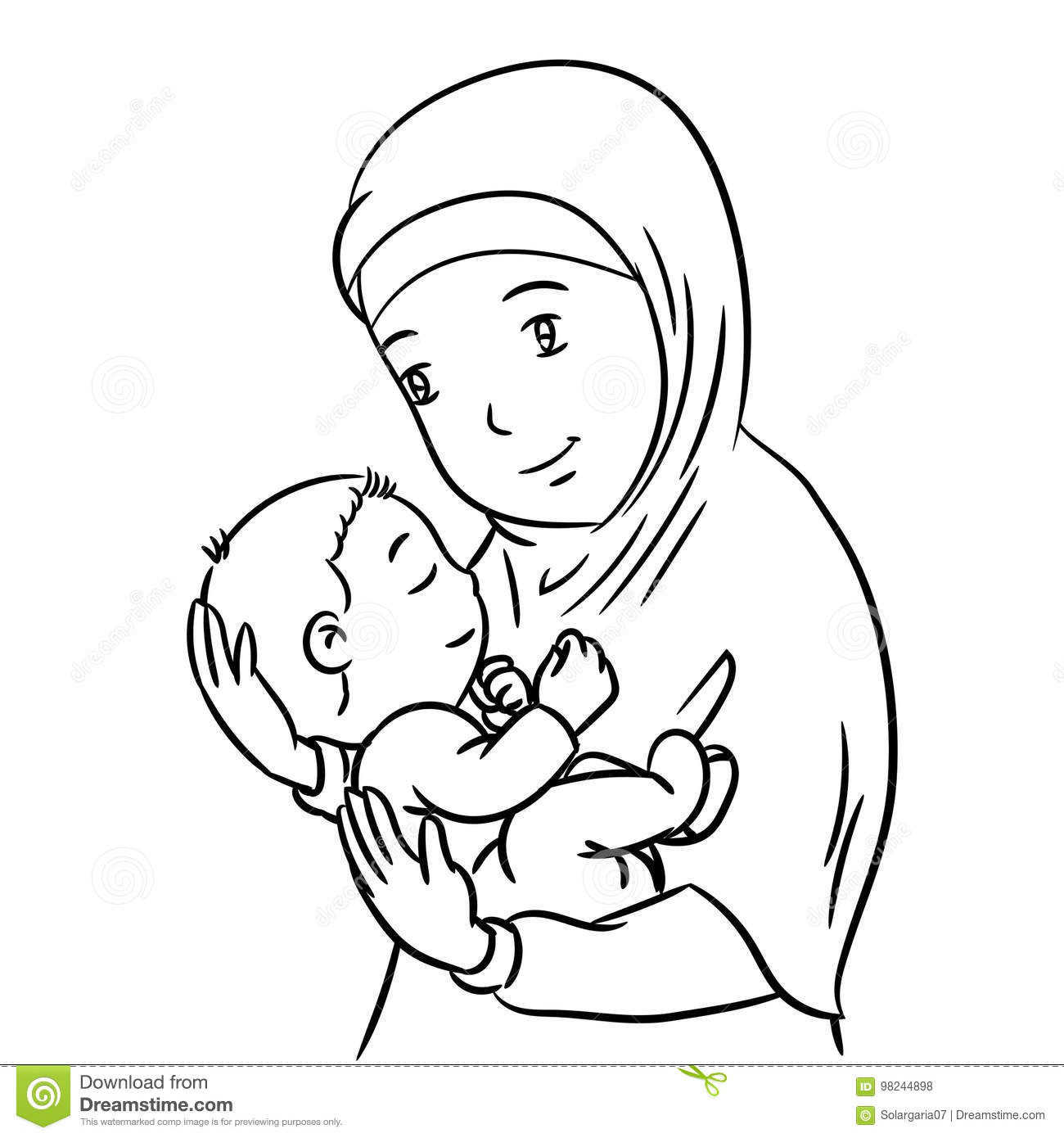 Hand Drawing Mother And Son Vector Illustration Stock