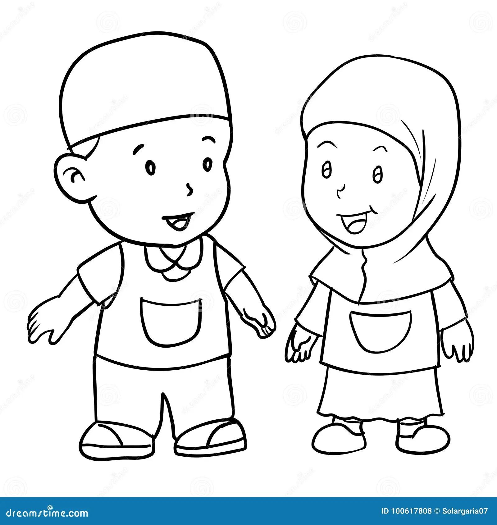 Hand Drawing Muslim Kids Vector Illustration Stock Vector