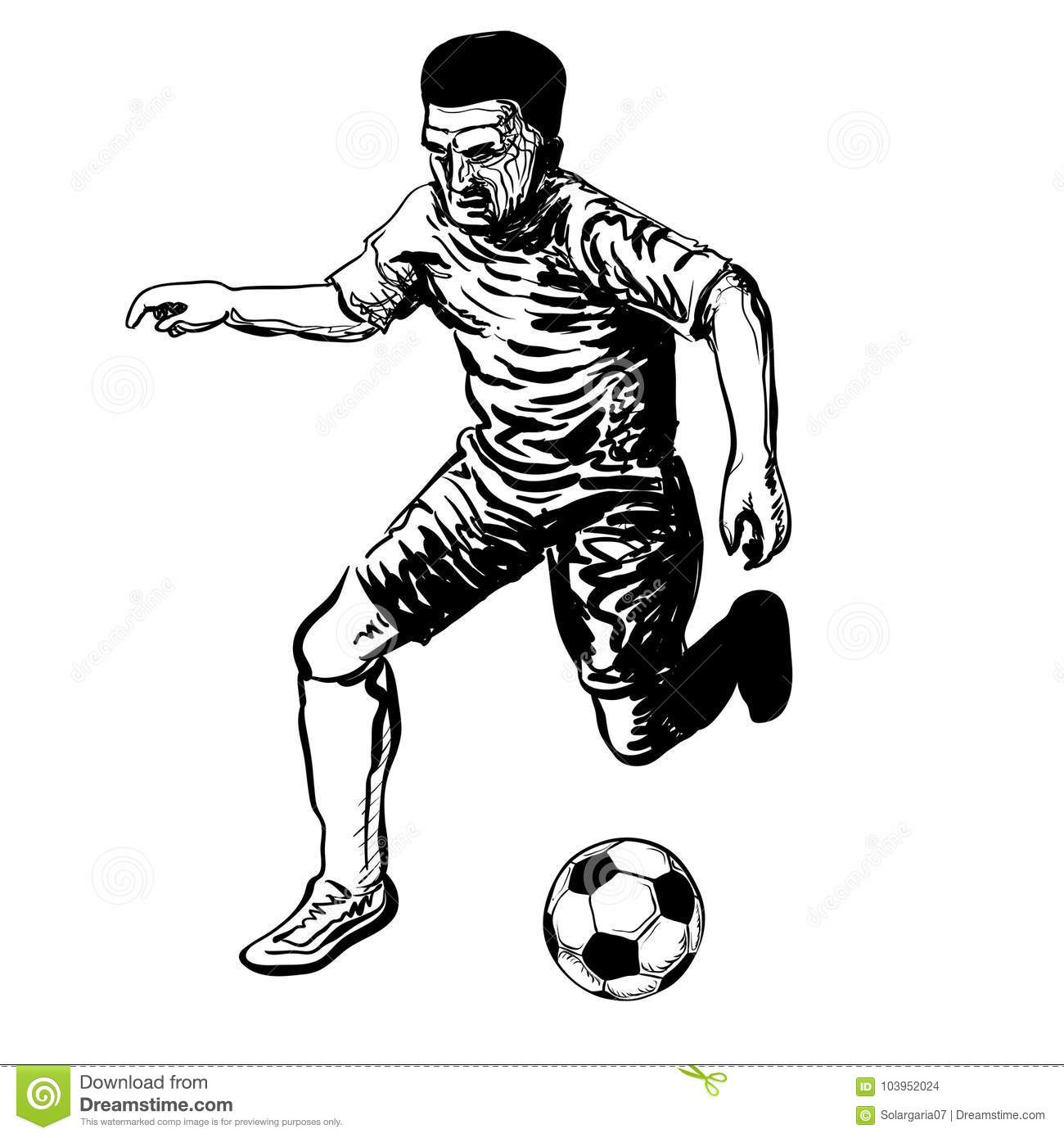 Hand Drawing Of Soccer Player Kicking A Ball Stock Vector