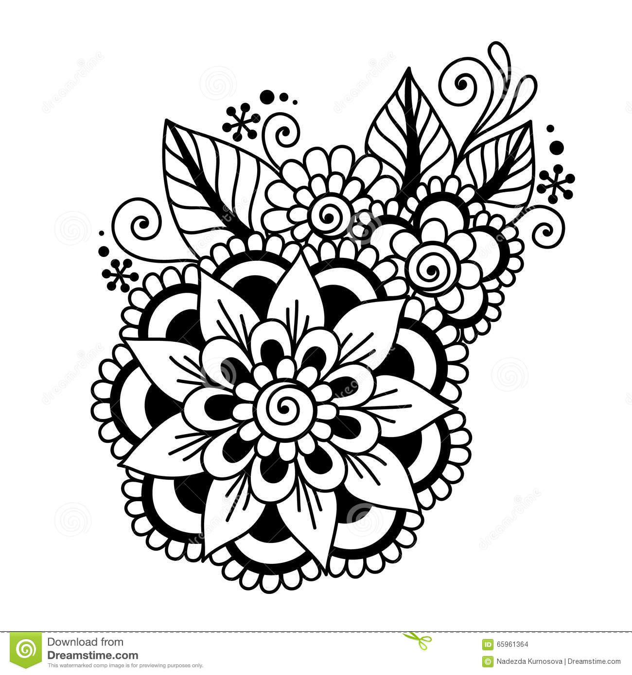 Hand Drawn Abstract Henna Mehndi Flower Ornament Stock