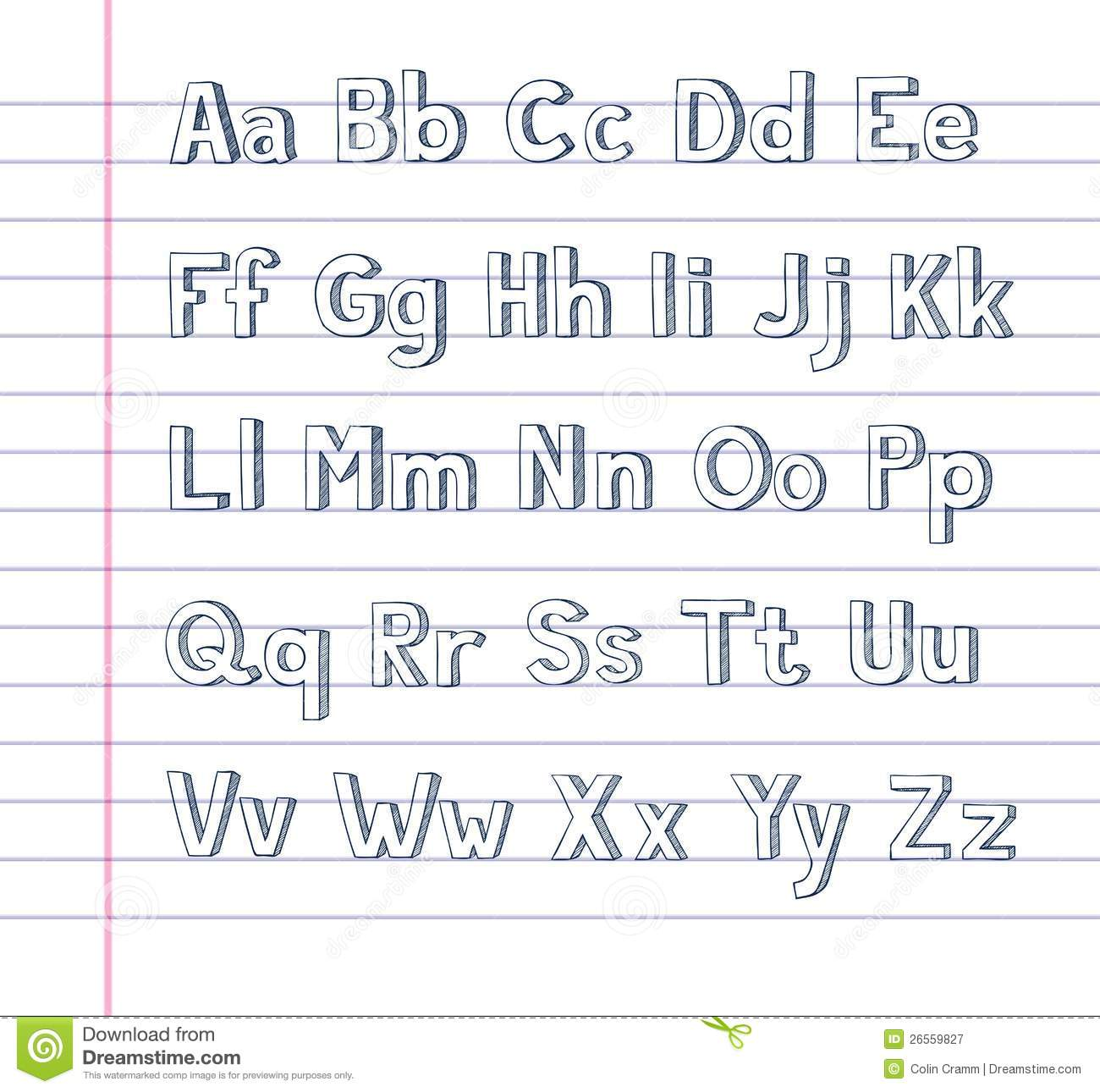 Hand Drawn Alphabet On Lined Paper Stock Vector