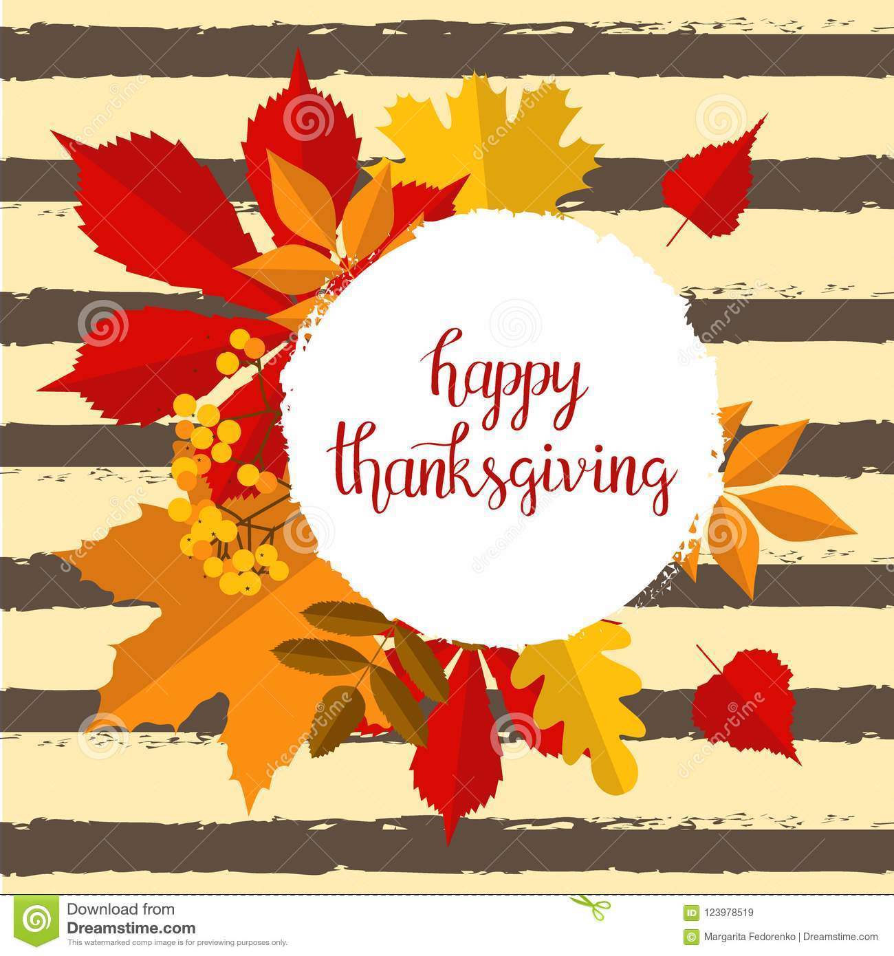 Hand Drawn Autumn Happy Thanksgiving Typography Poster With Cute Colorful Leaves In Flat Style Stock Vector Illustration Of Greeting Celebration 123978519