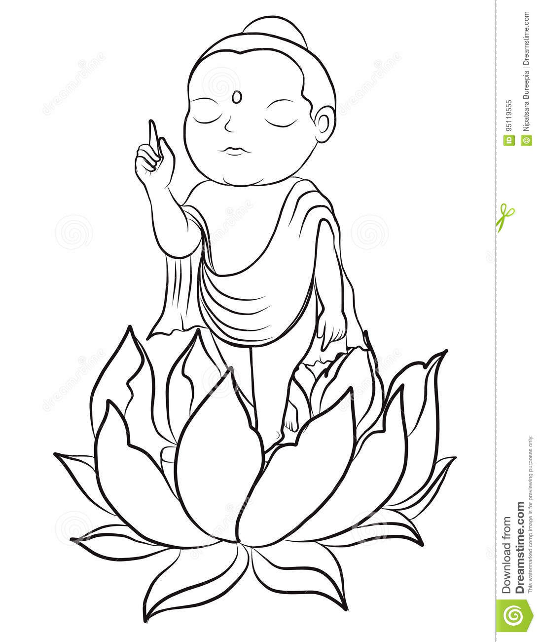 Hand Drawn Baby Buddha Born With Lotus Stock Vector