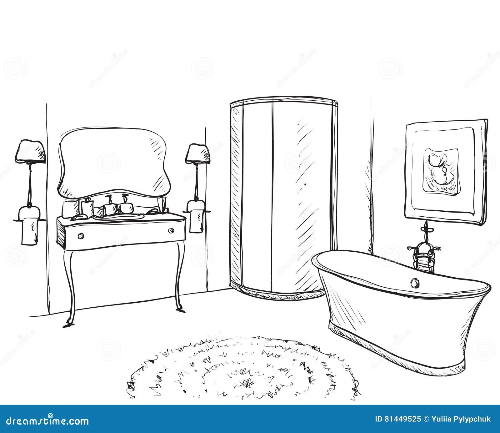Hand Drawn Bathroom Furniture Sketch Stock Vector