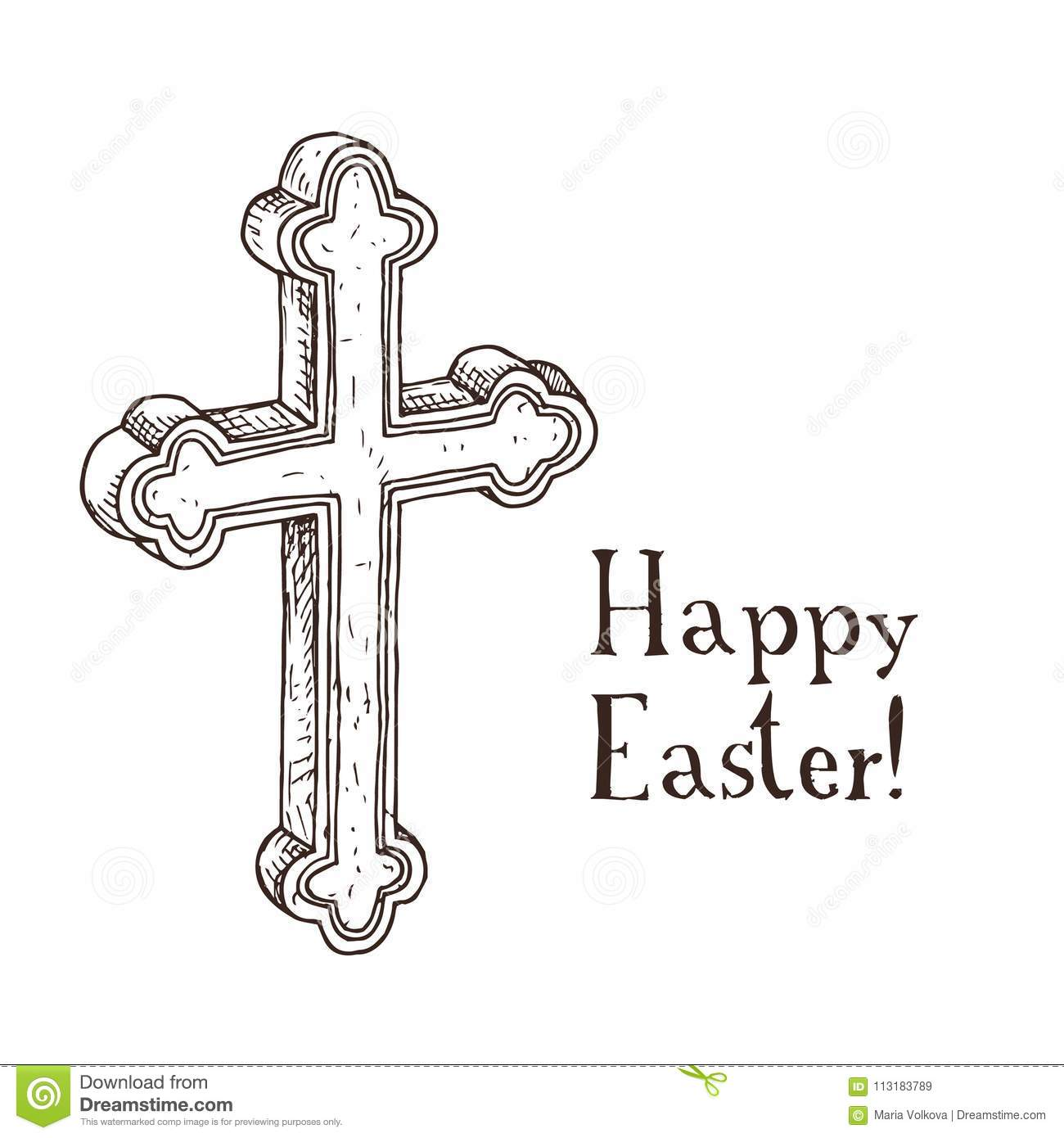 Easter Card With Golden Christian Cross Vector
