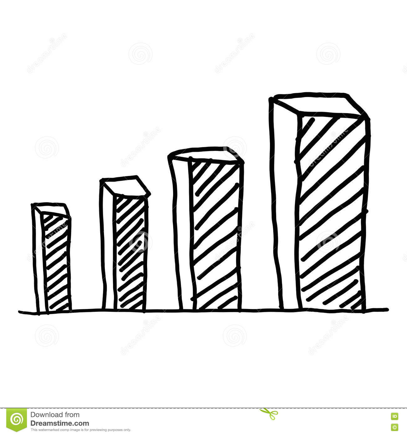 Hand Drawn A Business Bar Graph Show To Concept Of Data Processi Stock Illustration