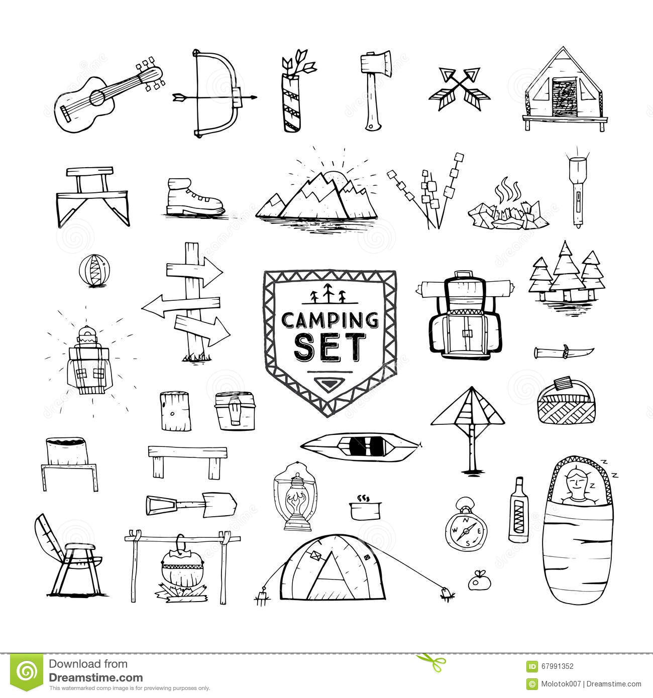 Hand Drawn Camping Hiking Or Mountain Climbing Icons Set
