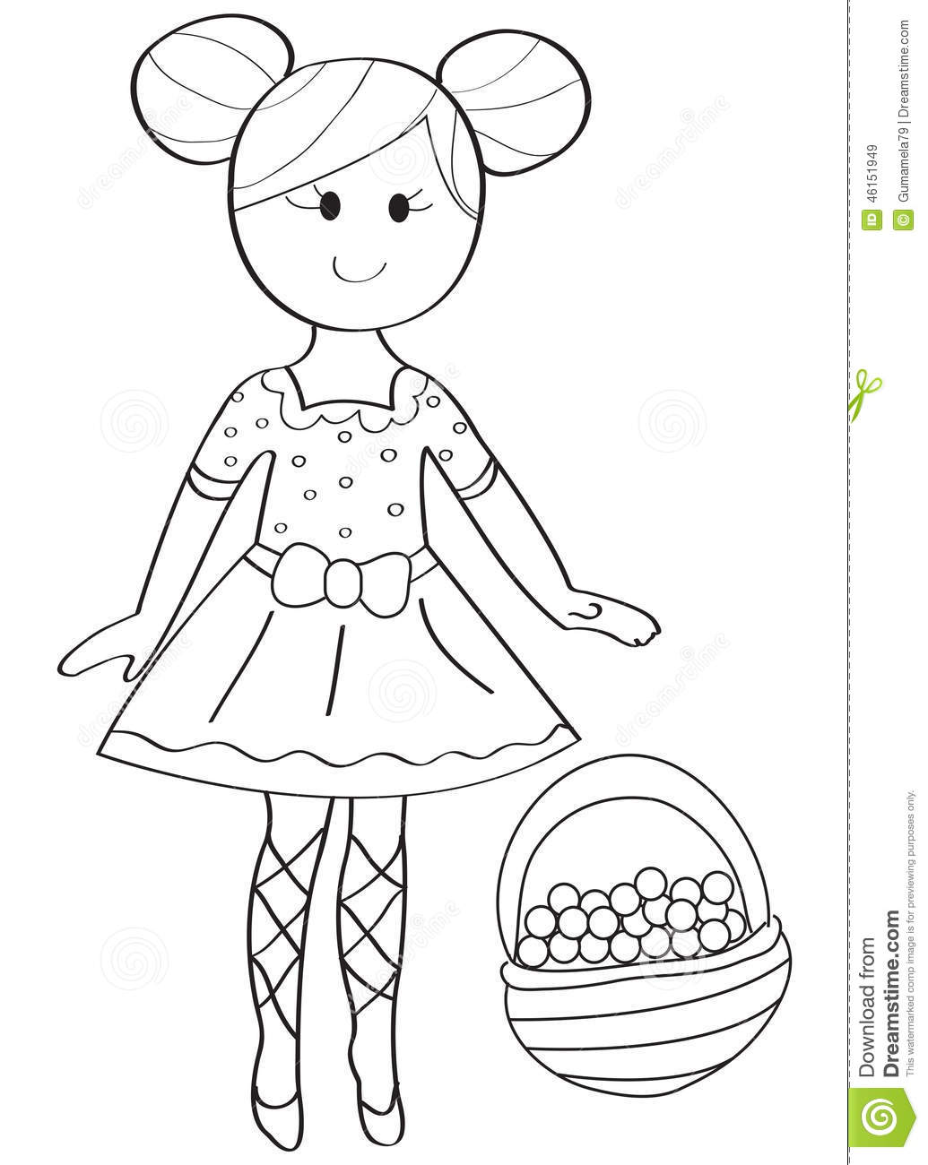 Hand Drawn Coloring Page Of A Ballerina Girl With A Fruit Basket Stock Illustration