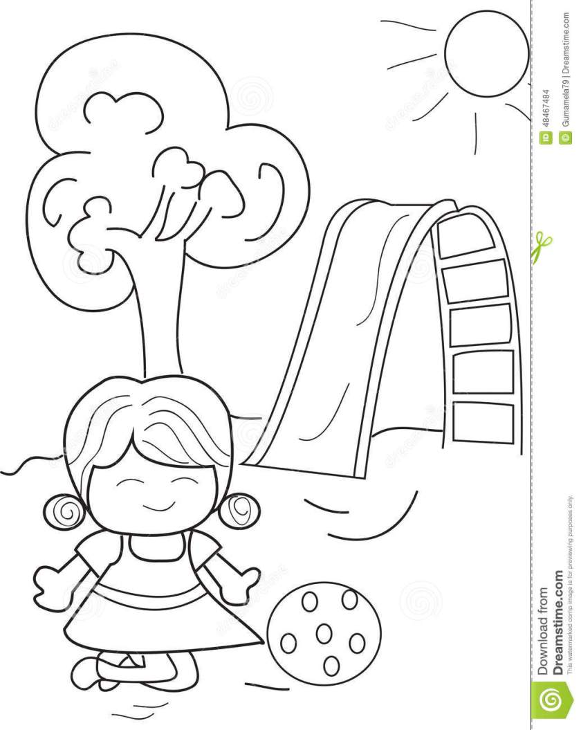 hand drawn coloring page of a girl playing ball stock