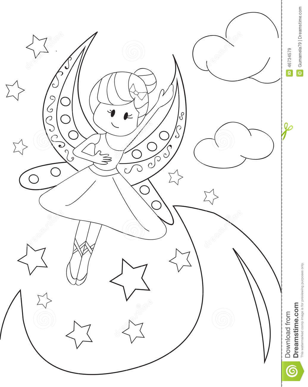 Hand Drawn Coloring Page Of A Moon Fairy Stock