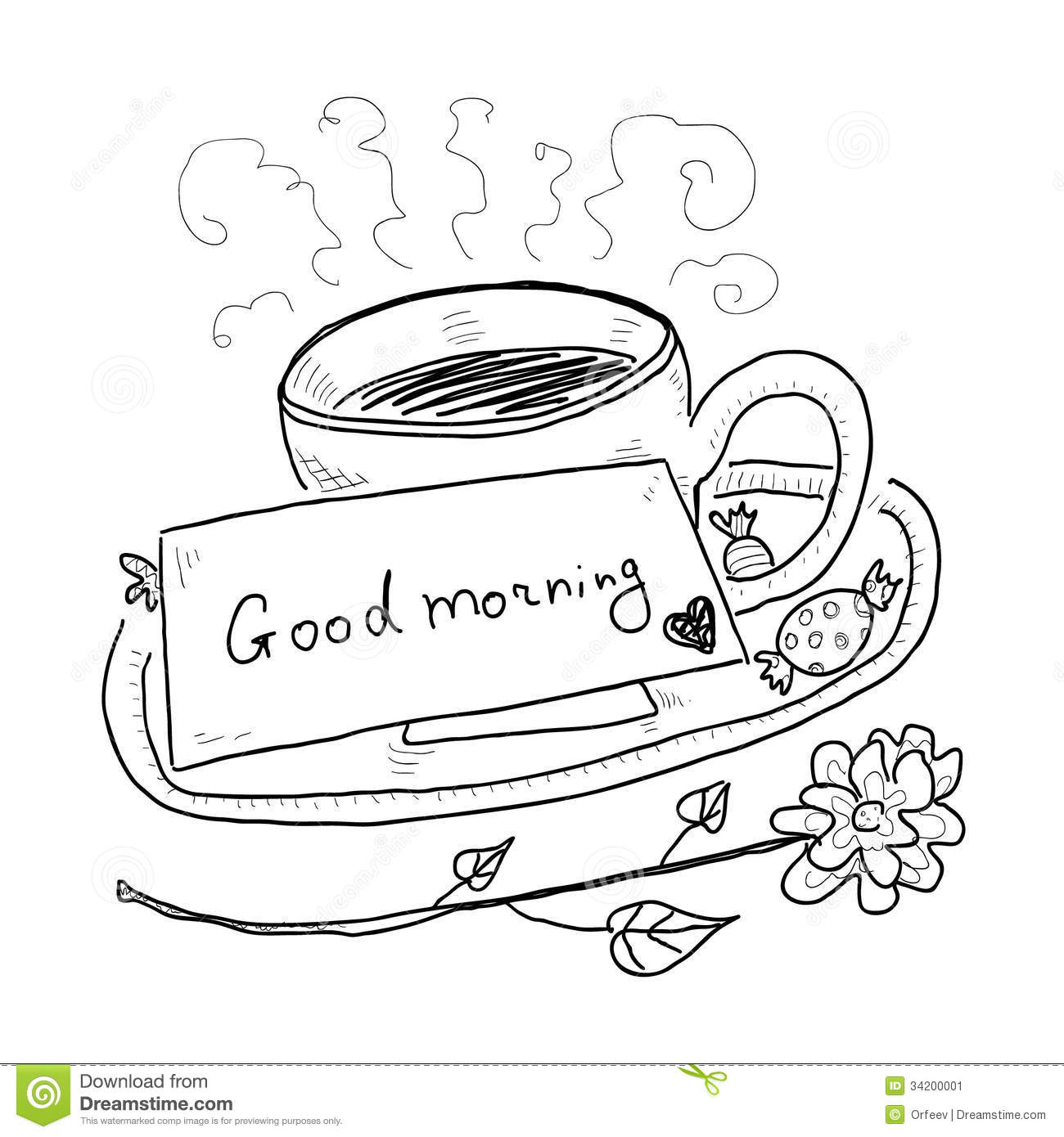 Hand Drawn Cup Of Tea Stock Image