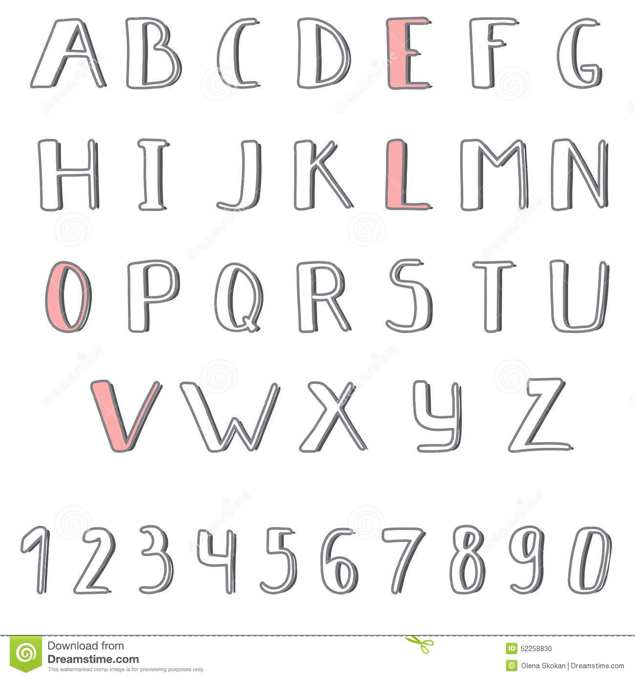 Hand Drawn Cute Alphabet Comic Cartoon Font Stock Vector