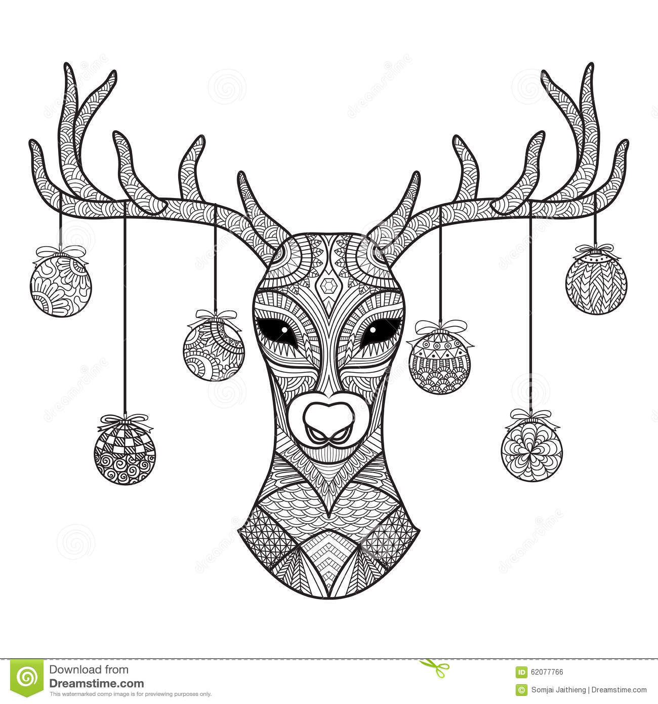 Hand Drawn Deer Head With Christmas Balls Hanging On Its