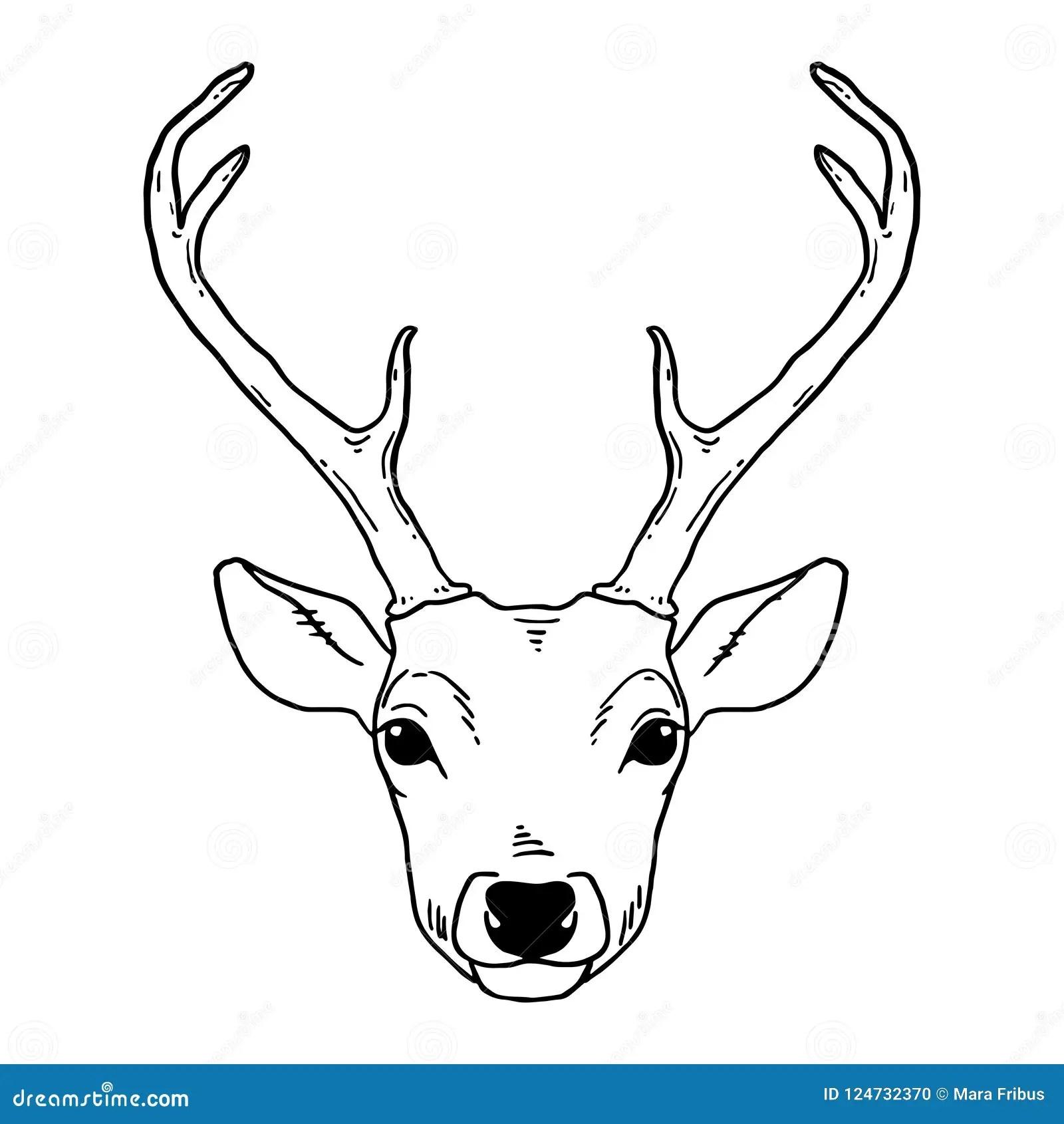Hand Drawn Deer Head Tribal Style Stock Vector