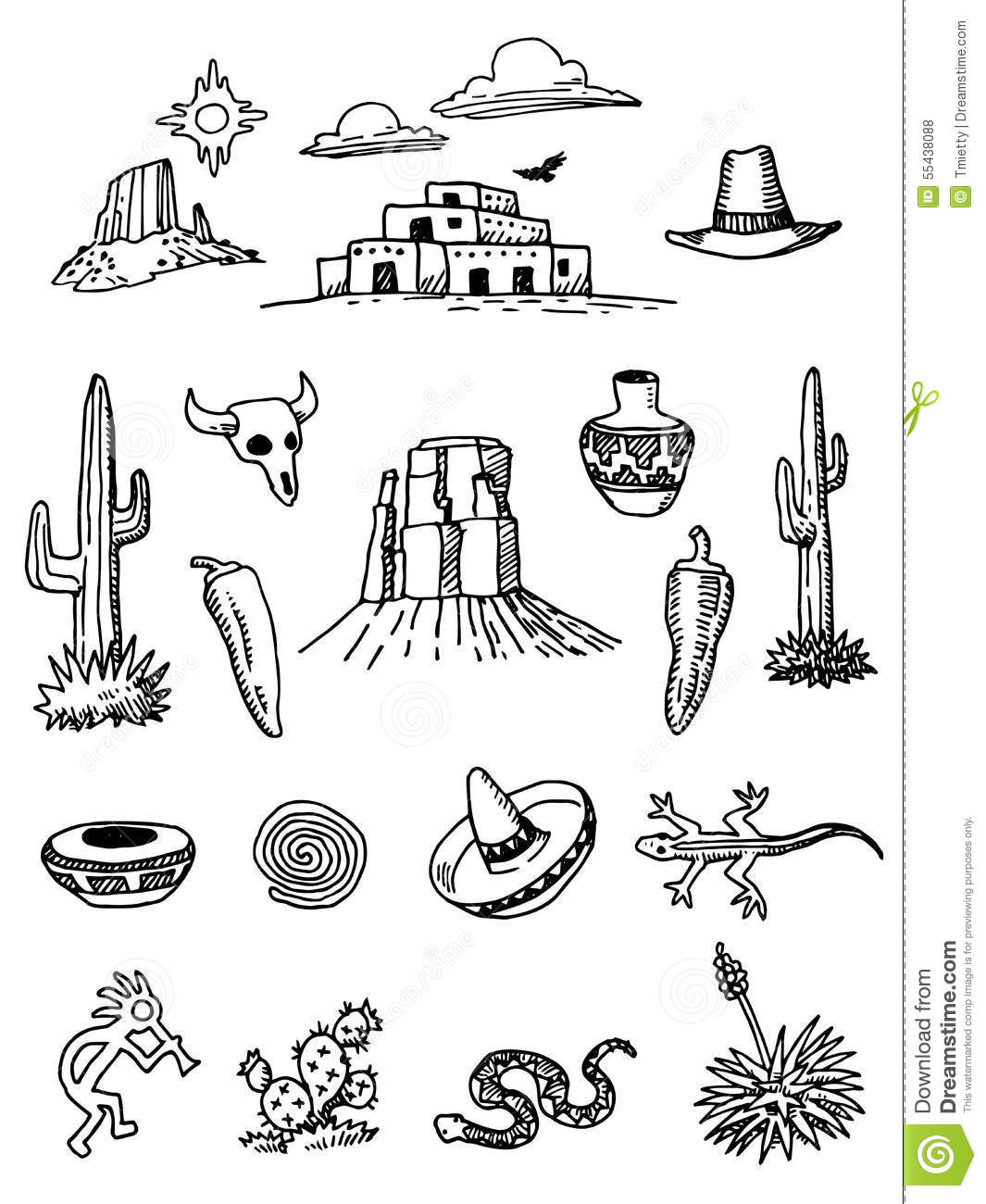 Hand Drawn Desert Doodles Stock Vector Illustration Of