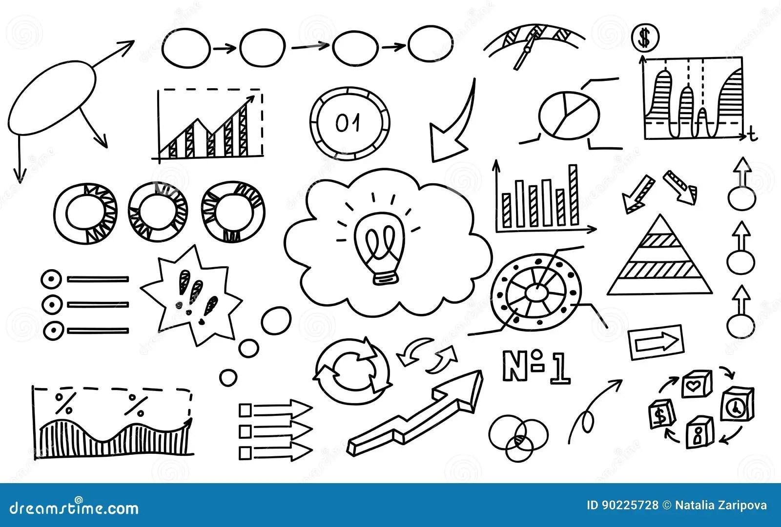 Hand Drawn Doodle Element Chart Graph Diagram Concept