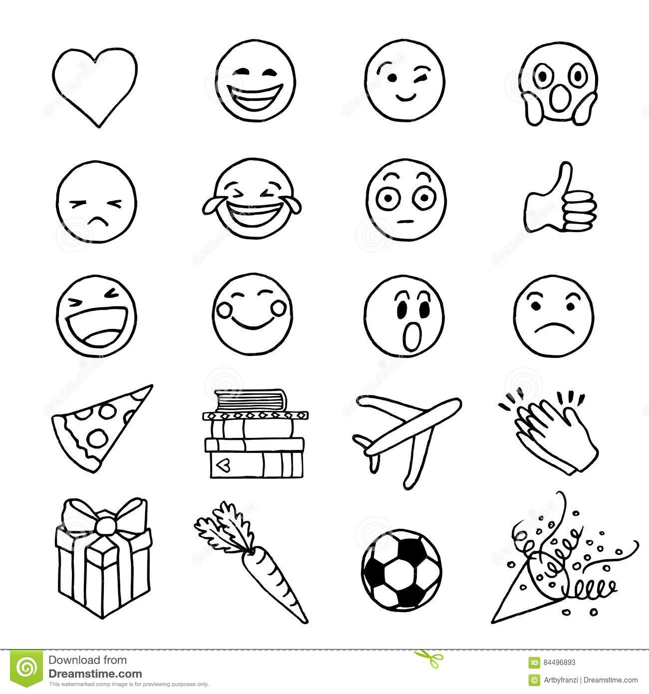 Hand Drawn Doodle Emoji Stock Vector Illustration Of
