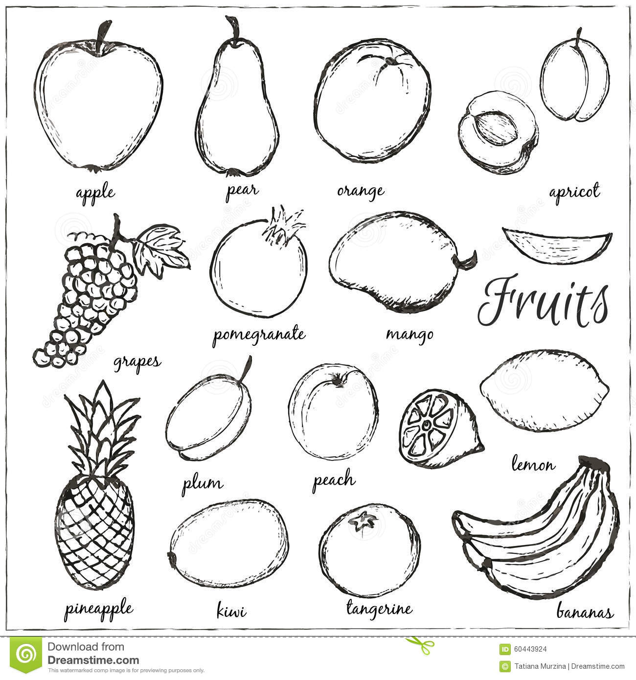 Fruits For Coloring With Names