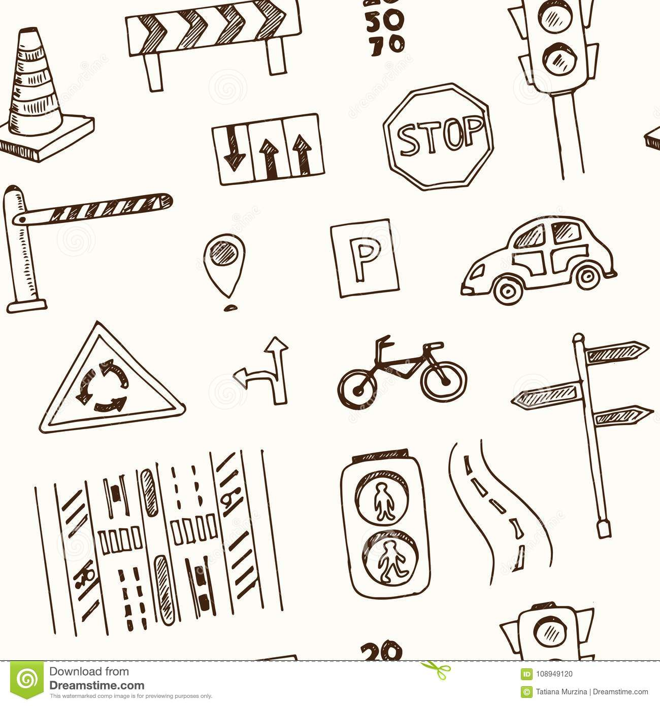 Hand Drawn Doodle Traffic Seamless Pattern Stock Vector