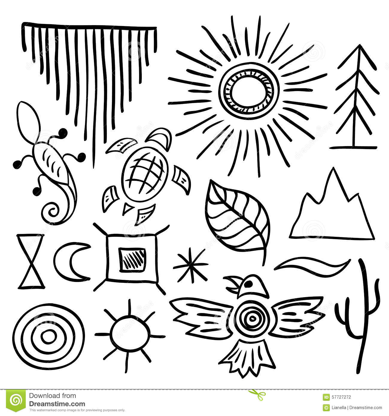 Hand Drawn Doodle Vector Native American Symbols Set Stock