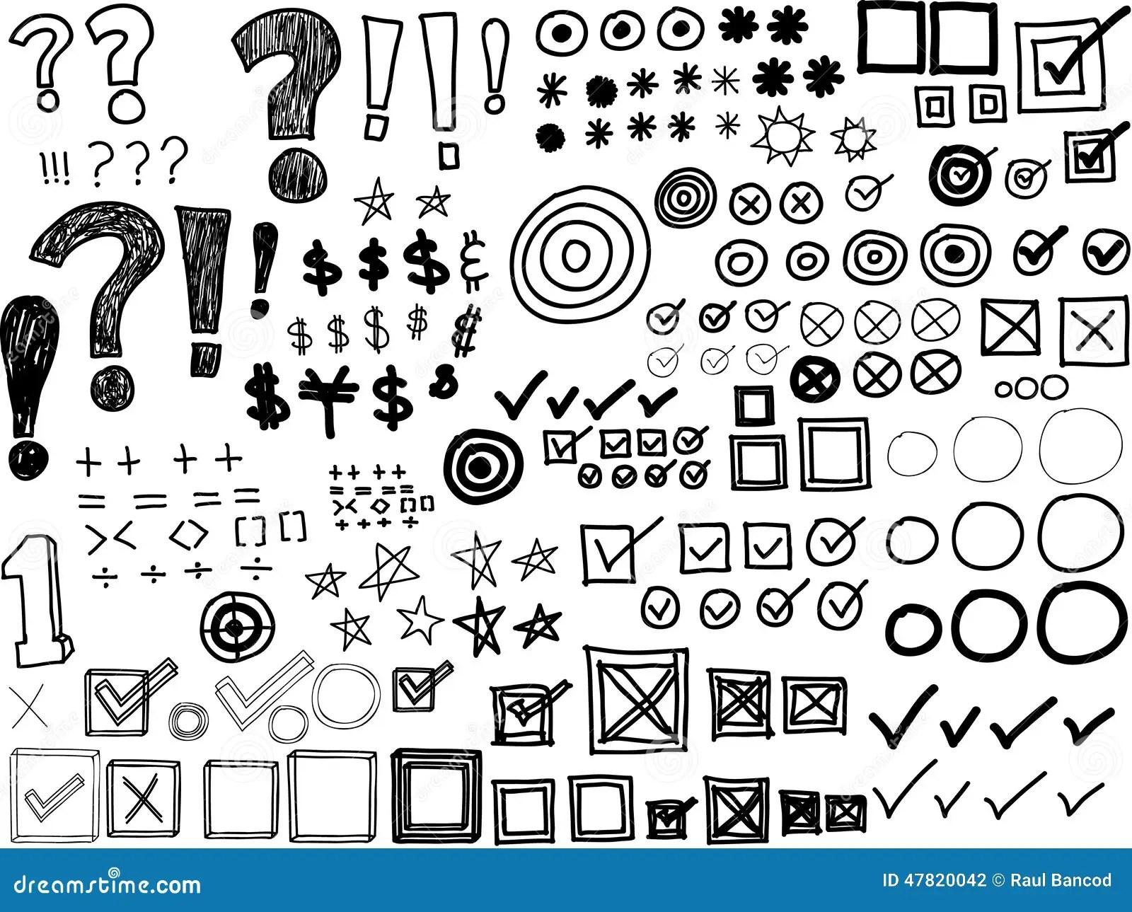 Hand Drawn Doodles Asterisks Bullets Check Marks