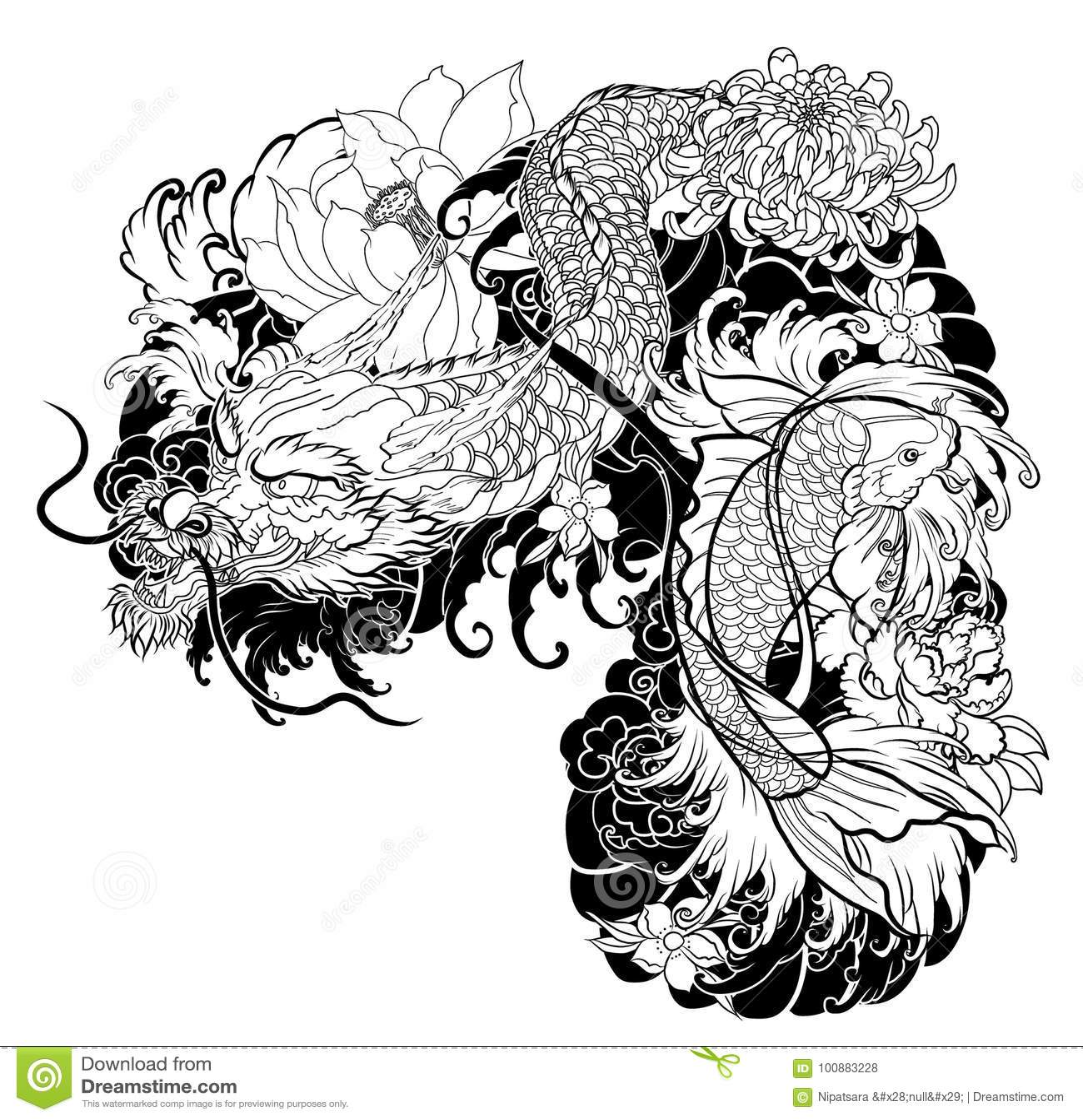 Old Dragon With Koi Carp Tattoo Japanese Style Stock