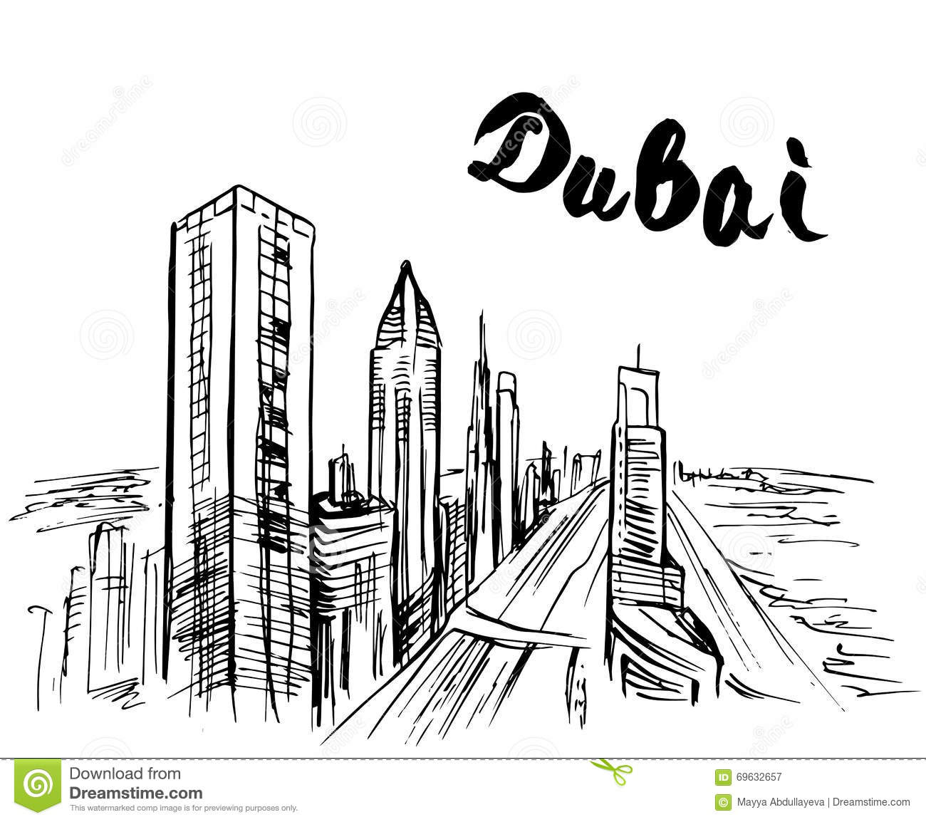 Hand Drawn Dubai Skysc R Stock Vector