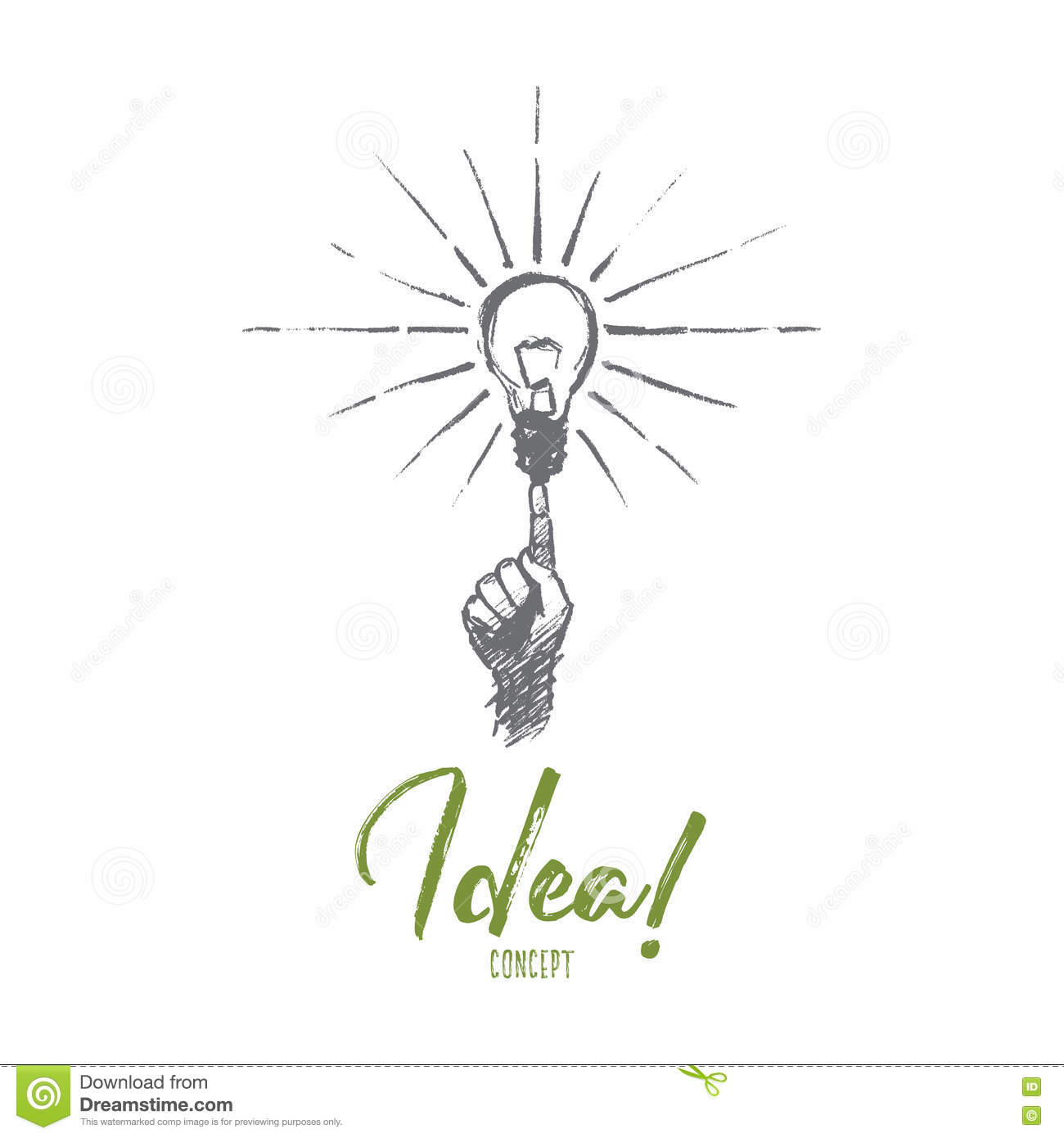 Hand Drawn Finger Pointing At Bright Light Bulb Stock