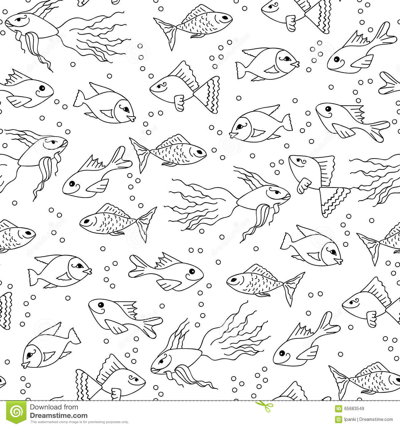 Hand Drawn Fish In Water Seamless Pattern For Adult Coloring Stock