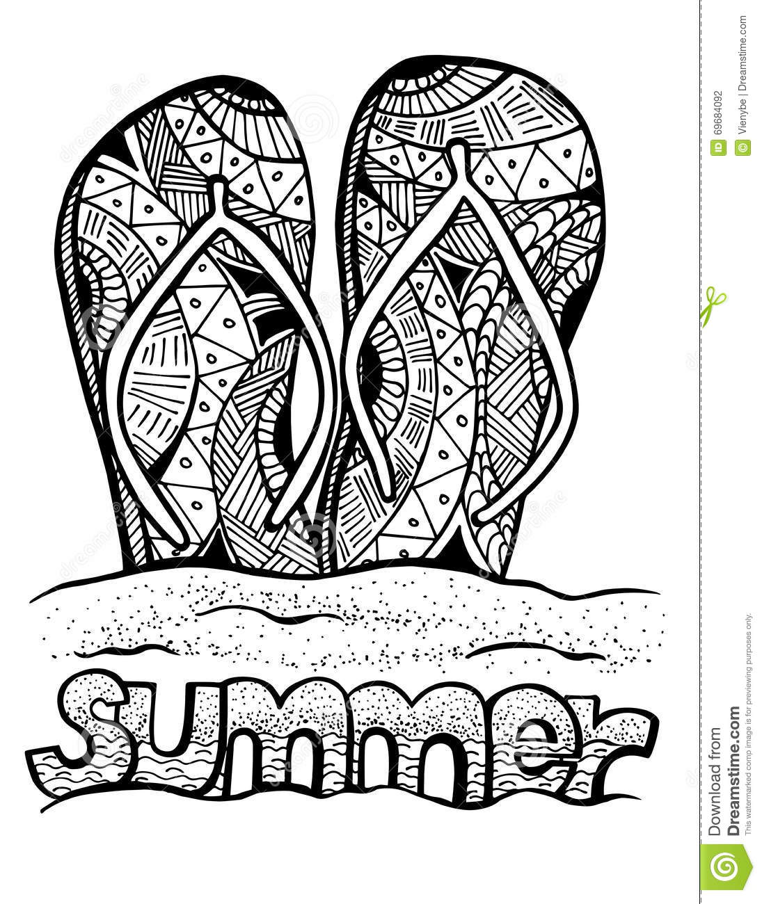 Hand Drawn Flip Flops For Coloring Book Stock Vector
