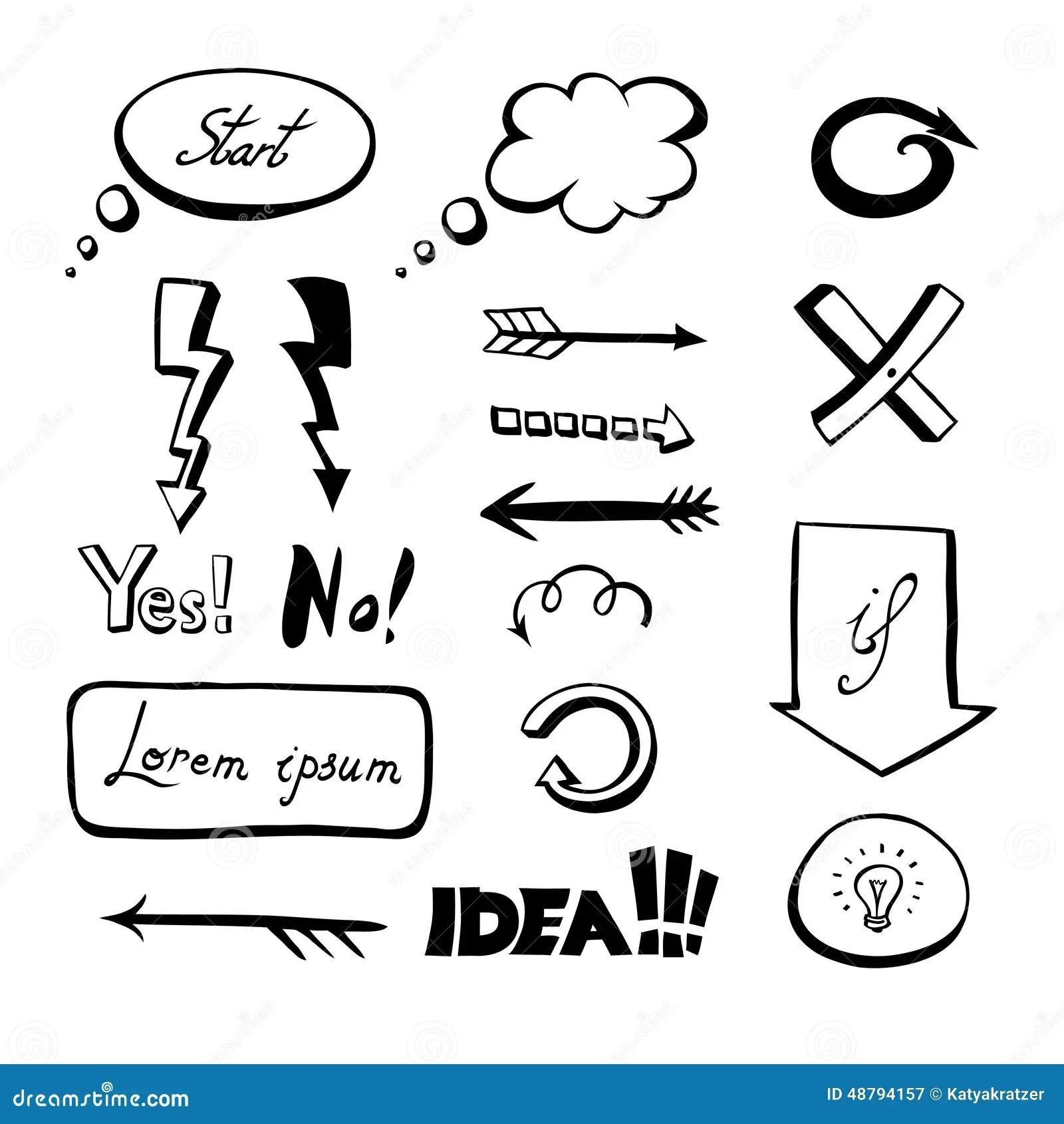 Hand Drawn Flowchart Set Stock Vector Illustration Of