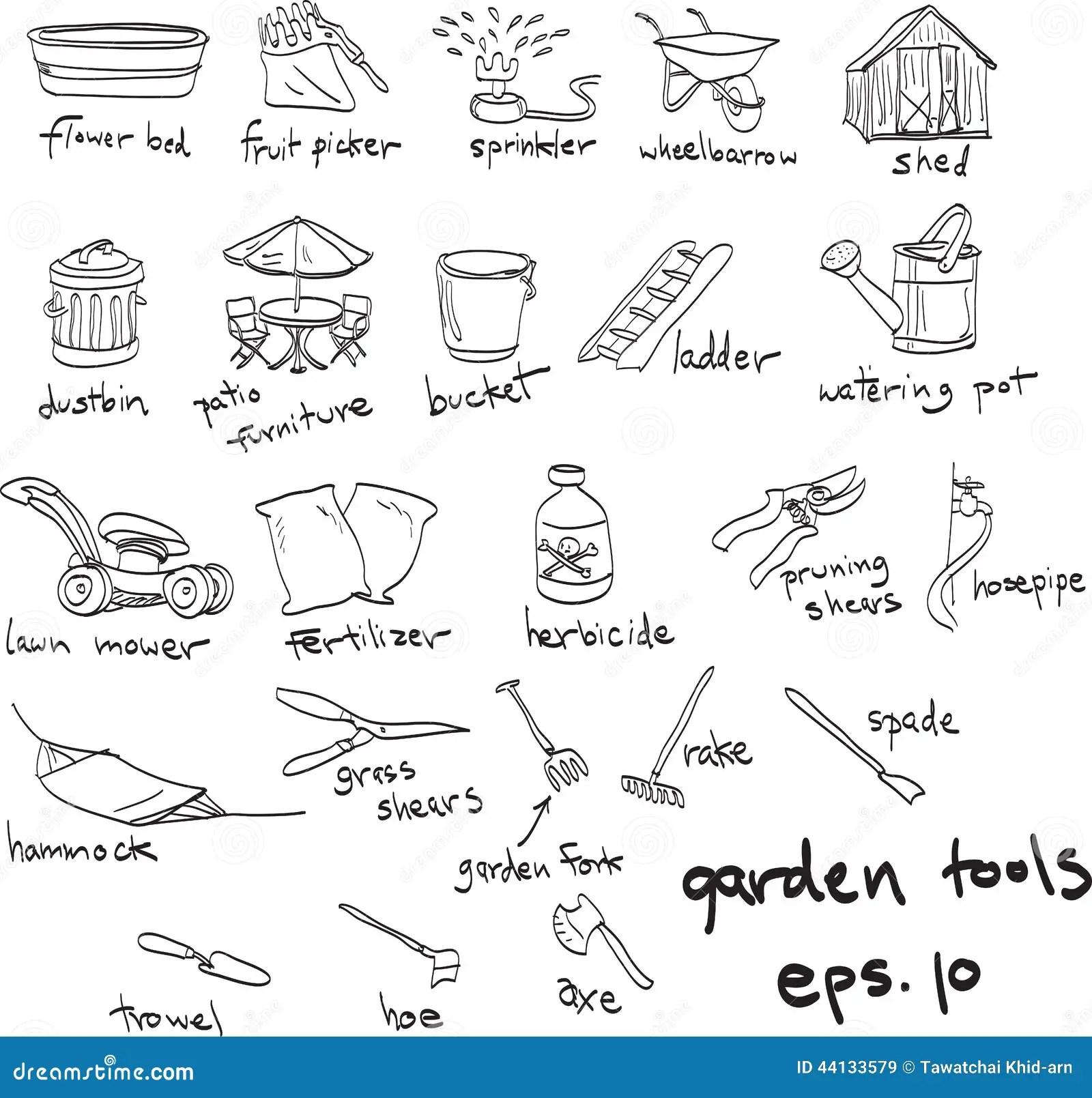 Hand Drawn Garden Tools Doodles Stock Vector