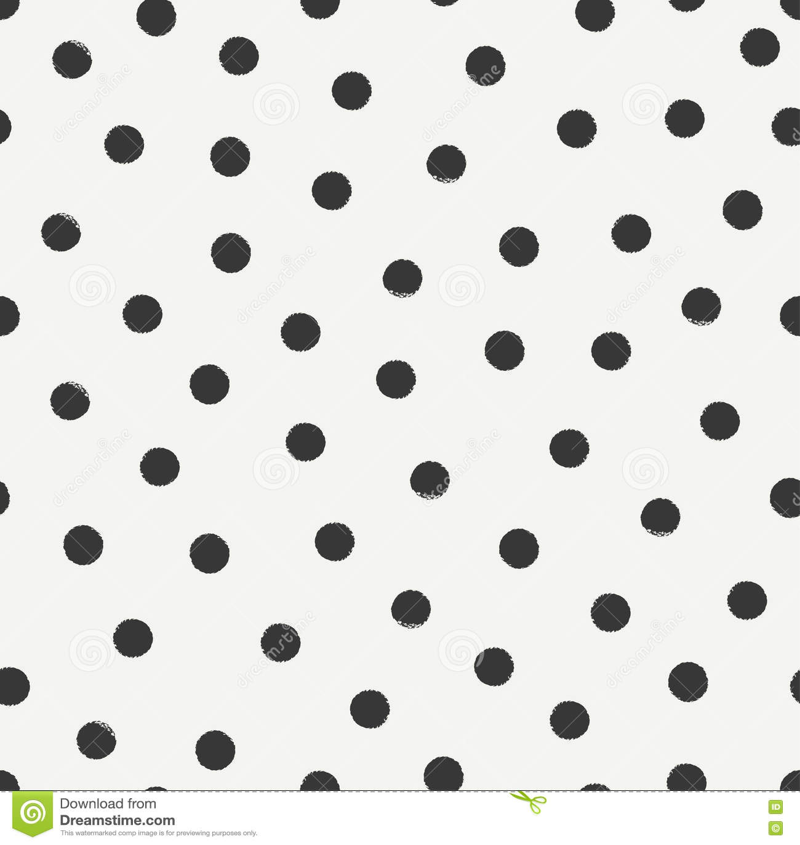 Hand Drawn Geometric Seamless Ink Polka Dot Pattern