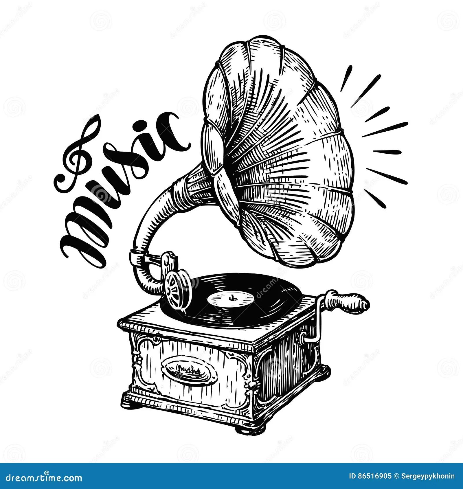 Hand Drawn Gramophone Sketch Music Nostalgia Symbol