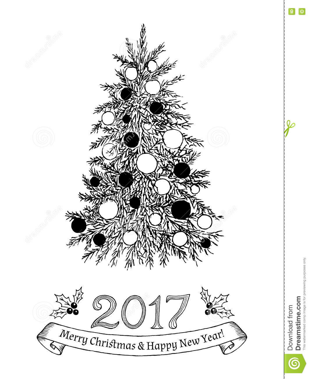 Hand Drawn Greeting Card With Christmas Tree Vector