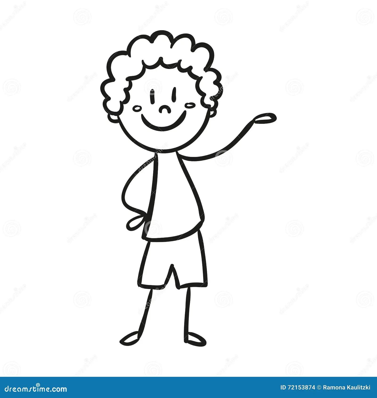 Hand Drawn Happy Little Child Doodle Stock Illustration